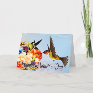 Hummingbirds with Peony Flowers Mother's Day Card