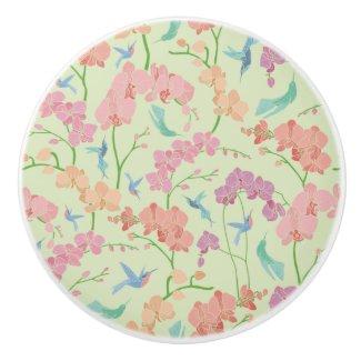 Hummingirds and Orchids Print Ceramic Knob