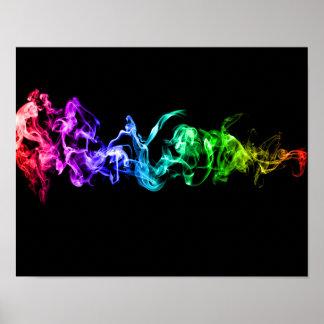 Humo abstracto colorido - un arco iris en la póster
