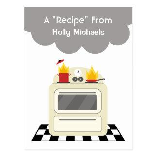 Humo de la estufa y postal retros de la receta del