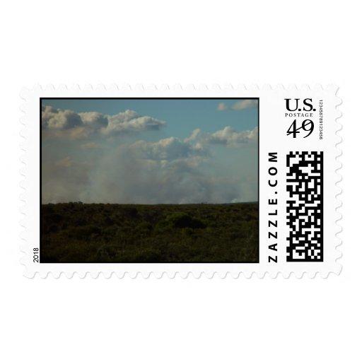 Humo del Bushfire debajo de las nubes en el parque Sellos