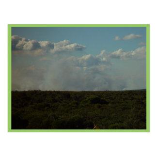 Humo del Bushfire debajo de las nubes en el parque Tarjetas Postales