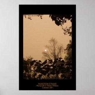 Humo del Bushfire en Glenloth Póster