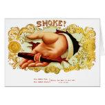 ¿Humo? Etiqueta del cigarro del vintage Tarjeta De Felicitación
