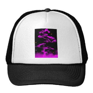 Humo rosado en negro gorras