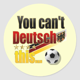 Humor alemán divertido de Deutsch Lustig Fussball Pegatina Redonda