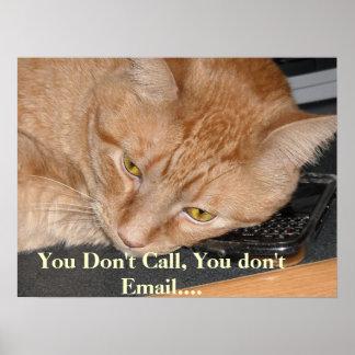 Humor anaranjado del gato de Tabby Póster