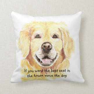 Humor Best Seat in house Dog Pet Animal Throw Pillow