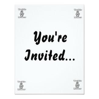 humor blanco de la música del esquema del negro invitación 10,8 x 13,9 cm