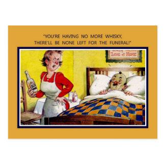Humor británico del vintage, no más de whisky postales