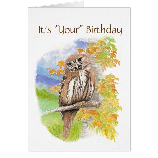 "Humor,  Cute Owl ""Give a Hoot""  Birthday Card"