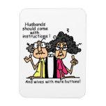 Humor de la actitud de los maridos y de las esposa imanes de vinilo