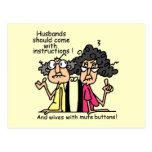 Humor de la actitud de los maridos y de las esposa postales