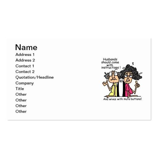 Humor de la actitud de los maridos y de las tarjetas de visita