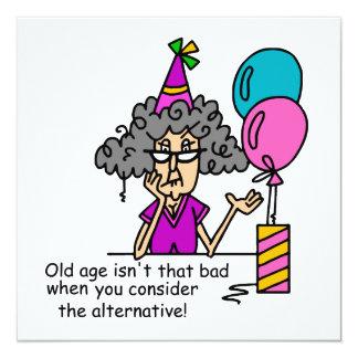"""Humor de la alternativa del cumpleaños invitación 5.25"""" x 5.25"""""""