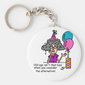 Humor de la alternativa del cumpleaños llaveros