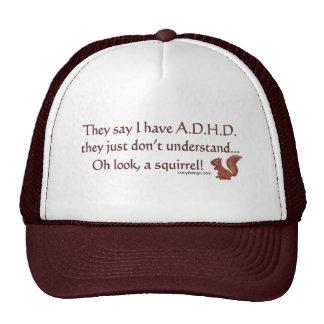 Humor de la ardilla de ADHD Gorras De Camionero