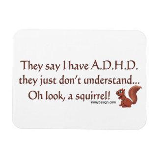 Humor de la ardilla de ADHD Imanes De Vinilo