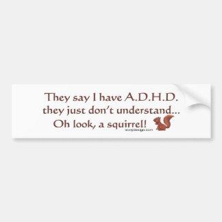 Humor de la ardilla de ADHD Pegatina Para Auto