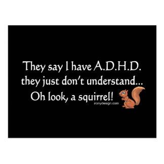 Humor de la ardilla de ADHD Tarjetas Postales