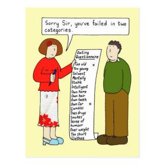 Humor de la datación, mujer que dice un resultado tarjeta postal