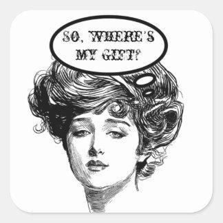 Humor de la diva del Victorian Pegatina Cuadrada