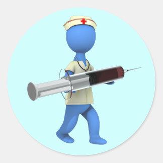 Humor de la enfermera pegatina redonda