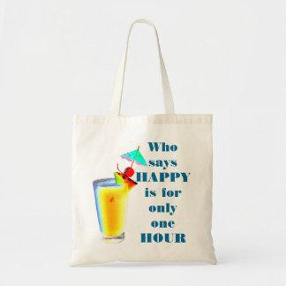 Humor de la hora feliz de la bebida del paraguas bolsas