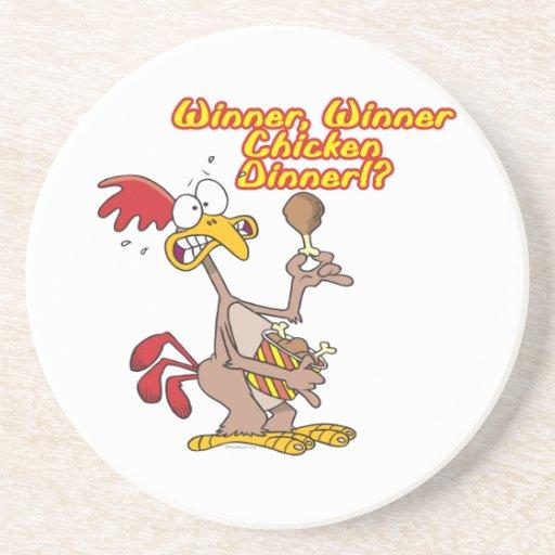 humor de la ironía de la cena del pollo del ganado posavaso para bebida