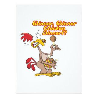"""humor de la ironía de la cena del pollo del invitación 6.5"""" x 8.75"""""""
