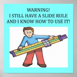 humor de la matemáticas de la regla de diapositiva póster