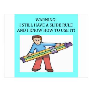 humor de la matemáticas de la regla de diapositiva postal