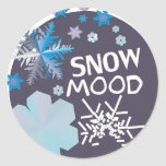 Humor de la nieve pegatina redonda