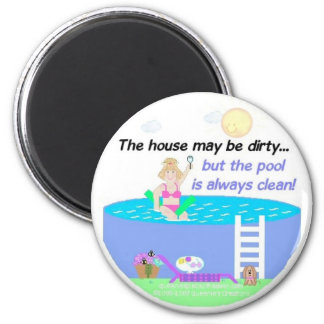 Humor de la piscina imán redondo 5 cm