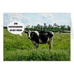 Humor de la vaca felicitación