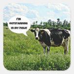 Humor de la vaca calcomania cuadradas personalizadas