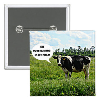 Humor de la vaca pin cuadrada 5 cm