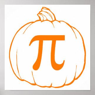 Humor de las matemáticas de la calabaza pi póster