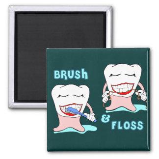 Humor de los dentistas y de los higienistas dental imán cuadrado
