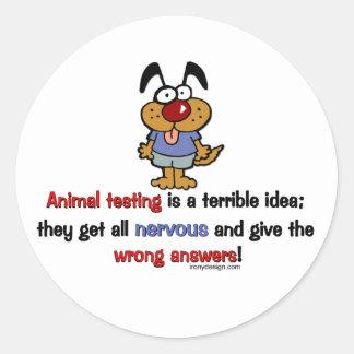 Humor de los ensayos con animales etiqueta redonda