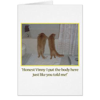 Humor de los gatos de la mafia tarjeta de felicitación