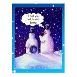 Humor de los muñecos de nieve postal