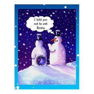 Humor de los muñecos de nieve tarjeta postal