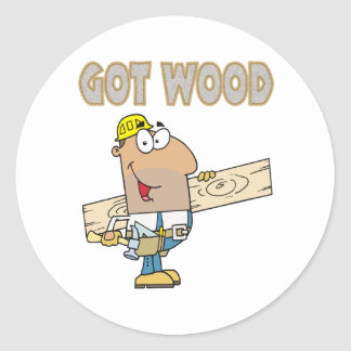 humor de madera conseguido del carpintero diseño pegatina redonda