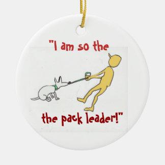 Humor del adiestrador de perros del ornamento adorno navideño redondo de cerámica