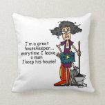 Humor del ama de casa almohada