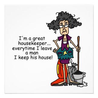 Humor del ama de casa invitacion personalizada