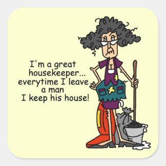 Humor del ama de casa pegatina cuadrada