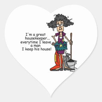 Humor del ama de casa pegatina en forma de corazón