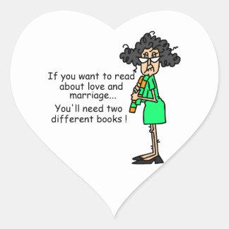 Humor del amor y de la boda calcomania corazon